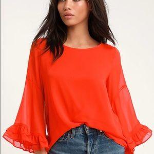 Lulu's | 'Wynwood' Coral Red Flounce Sleeve Top